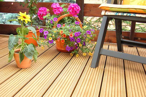 Deckings boards made from JELU WPC granulate