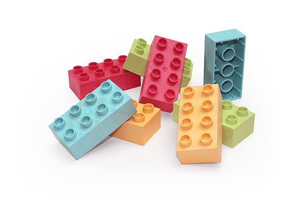 Toy bricks from wood plastic composite from JELU